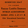 Ticket to Roscoe Conklin Simmons speech