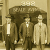 Group photo in front of Robert Reed Church, Jr.'s office at 392 Beale Avenue