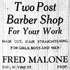 Two Post Barber Shop ad